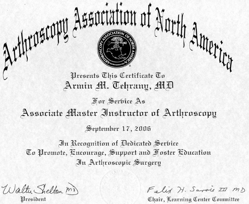 orthopedic doctor certificate