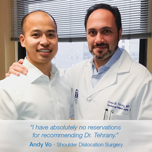 """Dr. Tehrany was the best experience"" says Andy Vo after a Remplissage arthroscopic shoulder procedure"